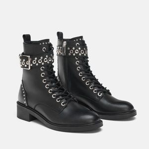 ZARA LEATHER COMBAT BOOTS WITH STUDS